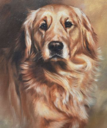 Mick Cawston Original Oil Painting Portrait Of A Golden Retriever Dog
